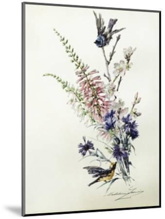A Study of Heather, Cornflower, and Blossom-Madeleine Lemaire-Mounted Giclee Print