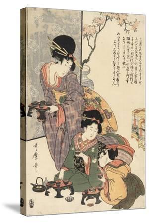 Girl's Festival (Hinamatsuri)-Kitagawa Utamaro-Stretched Canvas Print
