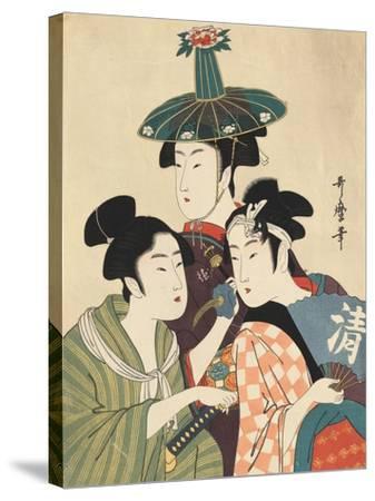 Three Young Men or Women-Kitagawa Utamaro-Stretched Canvas Print