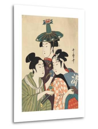 Three Young Men or Women-Kitagawa Utamaro-Metal Print