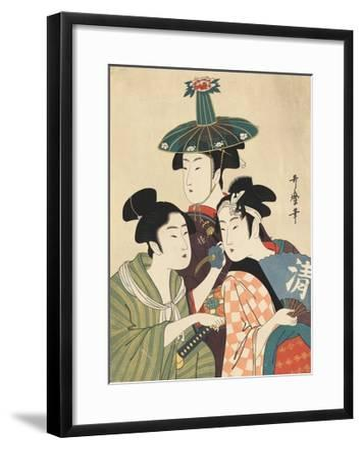 Three Young Men or Women-Kitagawa Utamaro-Framed Giclee Print