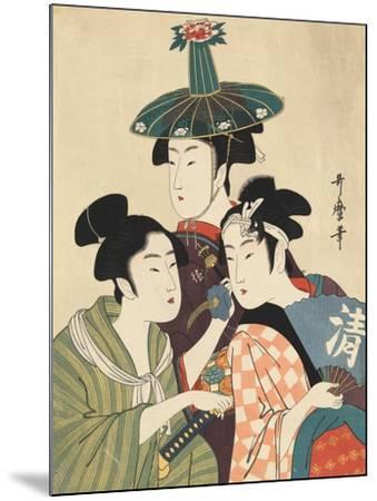 Three Young Men or Women-Kitagawa Utamaro-Mounted Giclee Print