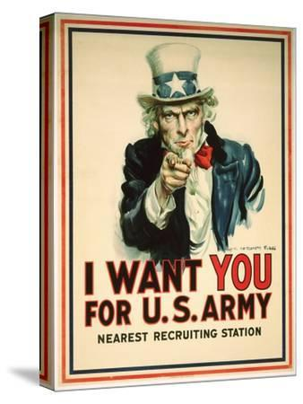 I Want You for the U.S. Army Recruitment Poster-James Montgomery Flagg-Stretched Canvas Print