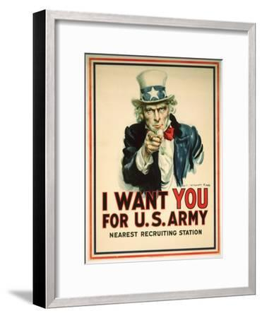 I Want You for the U.S. Army Recruitment Poster-James Montgomery Flagg-Framed Premium Giclee Print