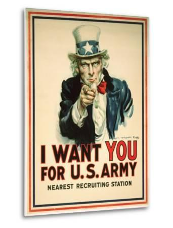 I Want You for the U.S. Army Recruitment Poster-James Montgomery Flagg-Metal Print