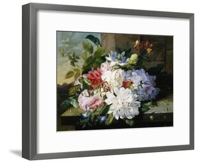 A Pretty Still Life of Roses, Rhododendron, and Passionflowers-John Wainwright-Framed Giclee Print