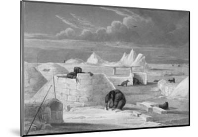 Illustration of Inuits Building an Igloo-Edward Finden-Mounted Giclee Print