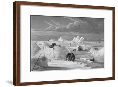 Illustration of Inuits Building an Igloo-Edward Finden-Framed Giclee Print