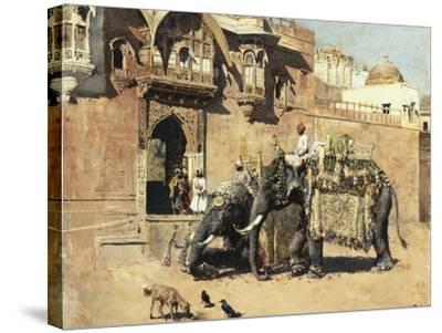 Elephants Outside a Palace, Jodhpore, India-Edwin Lord Weeks-Stretched Canvas Print