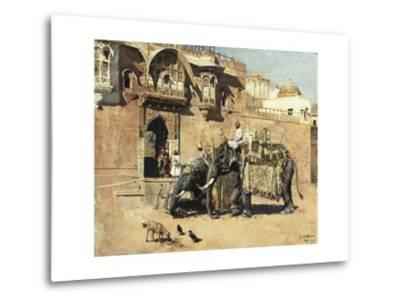 Elephants Outside a Palace, Jodhpore, India-Edwin Lord Weeks-Metal Print