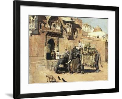 Elephants Outside a Palace, Jodhpore, India-Edwin Lord Weeks-Framed Giclee Print