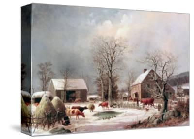 Farmyard in Winter-George Henry Durrie-Stretched Canvas Print