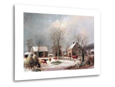 Farmyard in Winter-George Henry Durrie-Metal Print