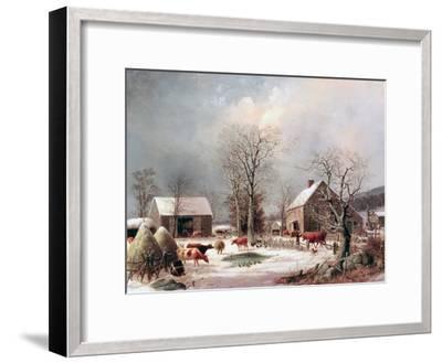 Farmyard in Winter-George Henry Durrie-Framed Giclee Print