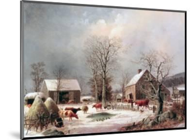Farmyard in Winter-George Henry Durrie-Mounted Giclee Print