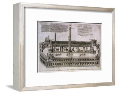 Plan of the Circus Maximus Engraving-Nicolas Beautrizet-Framed Giclee Print