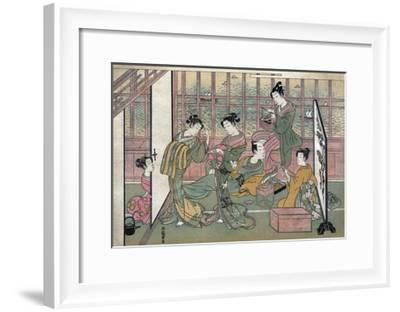 A Brothel in Shinagawa: First Page of a Shunga Set--Framed Giclee Print