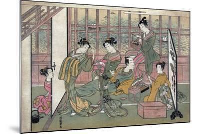 A Brothel in Shinagawa: First Page of a Shunga Set--Mounted Giclee Print
