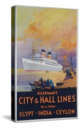 Ellerman's City and Hall Lines Cruise Poster--Stretched Canvas Print