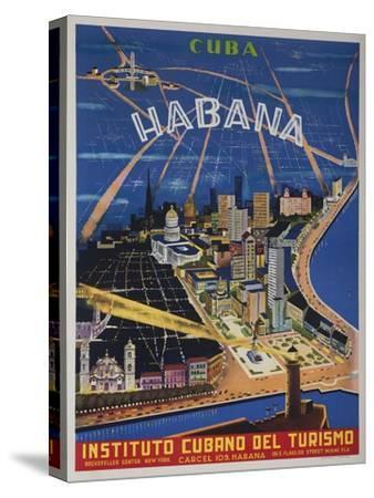 Cuba, Havana, Instituto Cubano Del Turismo, Travel Poster--Stretched Canvas Print