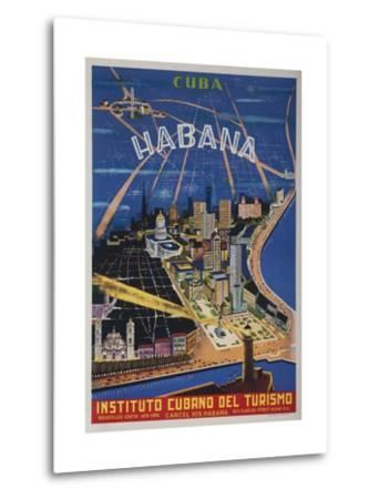 Cuba, Havana, Instituto Cubano Del Turismo, Travel Poster--Metal Print