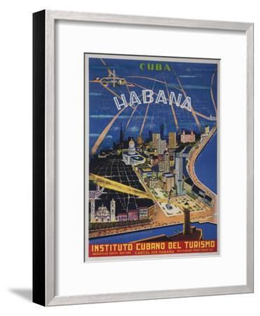 Cuba, Havana, Instituto Cubano Del Turismo, Travel Poster--Framed Giclee Print