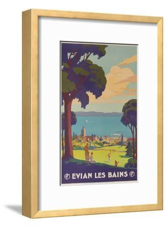 Evian Les Bains French Plm Railway Gold Poster Giclee