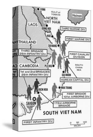 Map Showing Divisions in the Vietnam War--Stretched Canvas Print