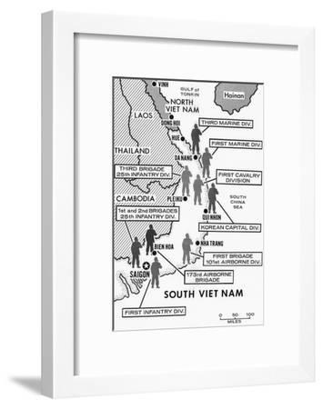 Map Showing Divisions in the Vietnam War--Framed Giclee Print