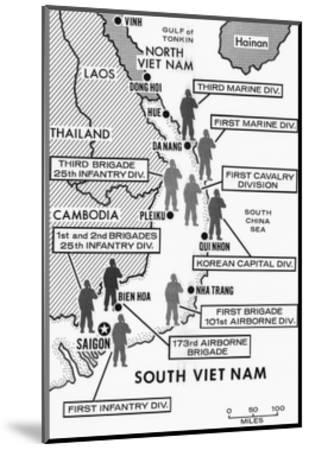 Map Showing Divisions in the Vietnam War--Mounted Giclee Print