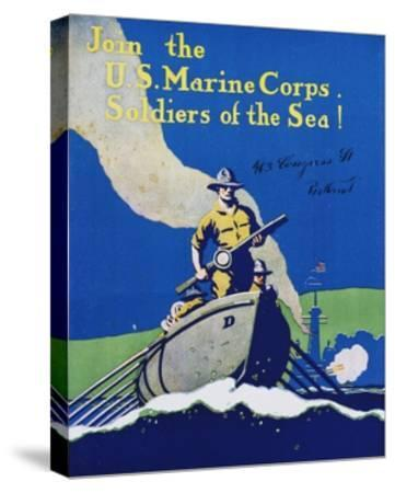 Join the U.S. Marine Corps. Recruiting Poster--Stretched Canvas Print