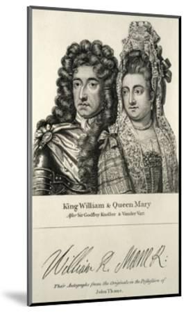 King William and Queen Mary Engraving--Mounted Giclee Print