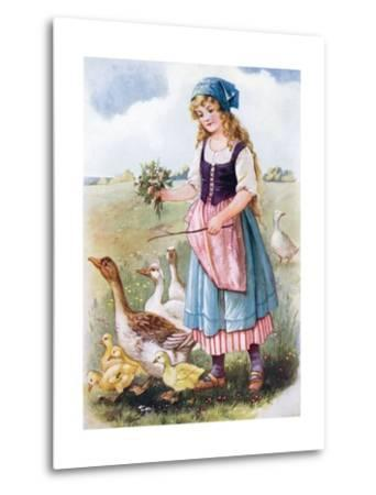 The Goose Girl--Metal Print