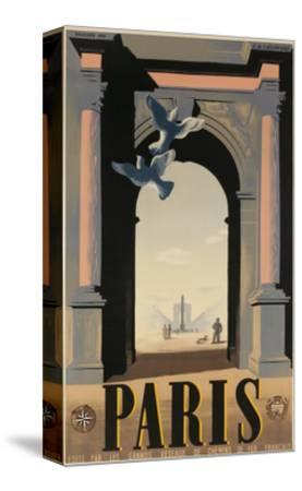 Paris, French Travel Poster, Arch--Stretched Canvas Print