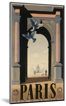 Paris, French Travel Poster, Arch--Mounted Giclee Print