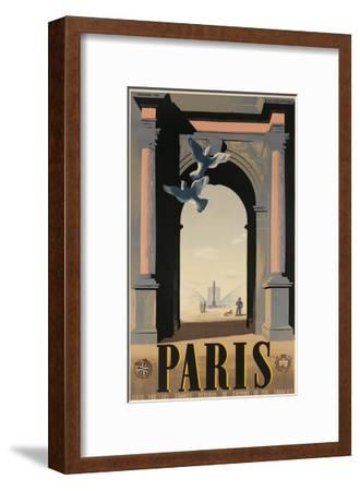 Paris, French Travel Poster, Arch--Framed Giclee Print
