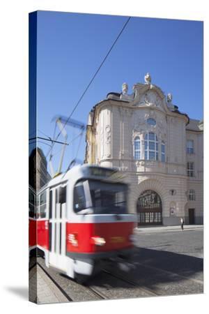 Tram Passing Reduta Palace, Bratislava, Slovakia-Ian Trower-Stretched Canvas Print