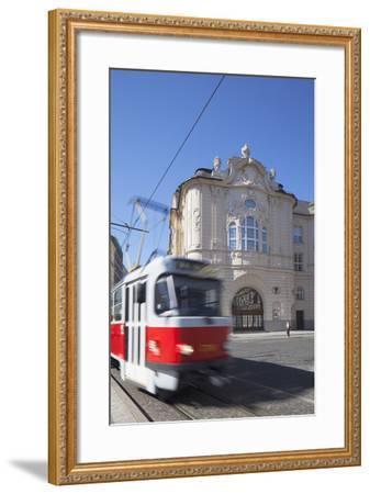 Tram Passing Reduta Palace, Bratislava, Slovakia-Ian Trower-Framed Photographic Print