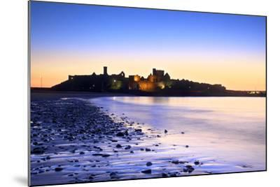Peel Castle at Dusk, St. Patrick's Isle, Isle of Man-Neil Farrin-Mounted Photographic Print