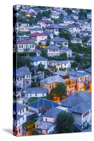 Albania, Gjirokastra, Elevated View of Ottoman-Era Houses, Dawn-Walter Bibikow-Stretched Canvas Print