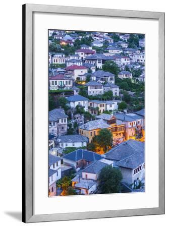Albania, Gjirokastra, Elevated View of Ottoman-Era Houses, Dawn-Walter Bibikow-Framed Photographic Print
