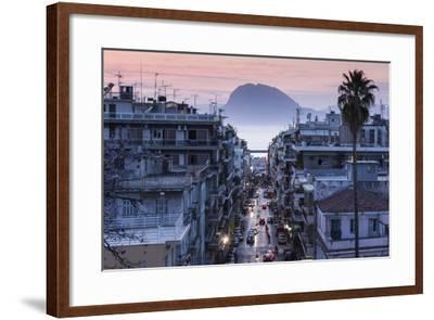 Greece, Peloponese Region, Patra, Elevated City View over Agios Nikolaos Street-Walter Bibikow-Framed Photographic Print