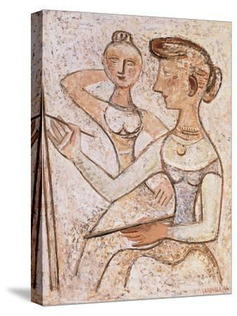 The Painter (With a Model)-Massimo Campigli-Stretched Canvas Print