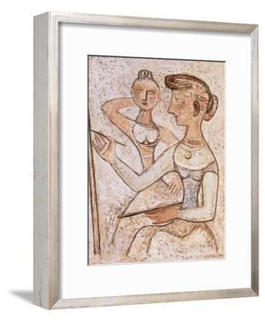 The Painter (With a Model)-Massimo Campigli-Framed Giclee Print