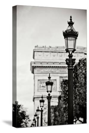 Parisian Lightposts BW I-Erin Berzel-Stretched Canvas Print