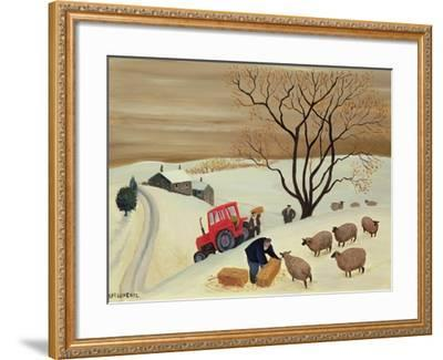 Taking Hay to the Sheep by Tractor-Margaret Loxton-Framed Giclee Print