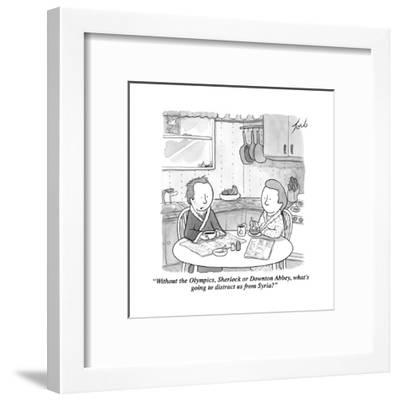 """""""Without the Olympics, Sherlock or Downton Abbey, what's going to distract?"""" - Cartoon-Tom Toro-Framed Premium Giclee Print"""