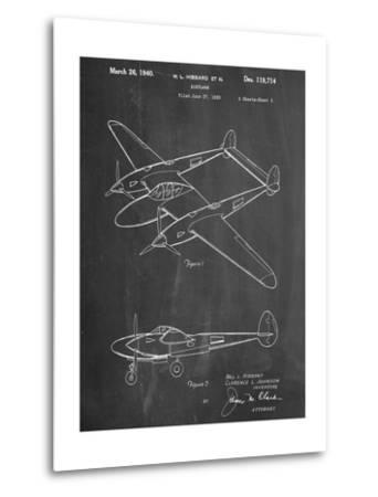 P-38 Airplane Patent--Metal Print