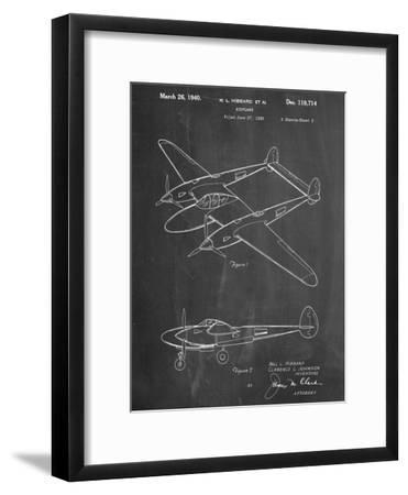P-38 Airplane Patent--Framed Art Print
