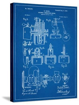 Diesel Engine Patent--Stretched Canvas Print